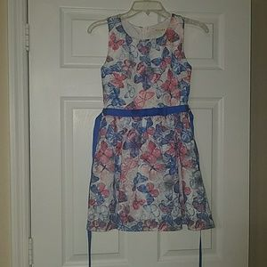 Other - Pink and blue butterfly print girl's formal dress
